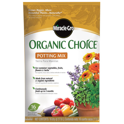Miracle-Gro organic choice potting mix is the perfect soil for Container Gardening for beginners.