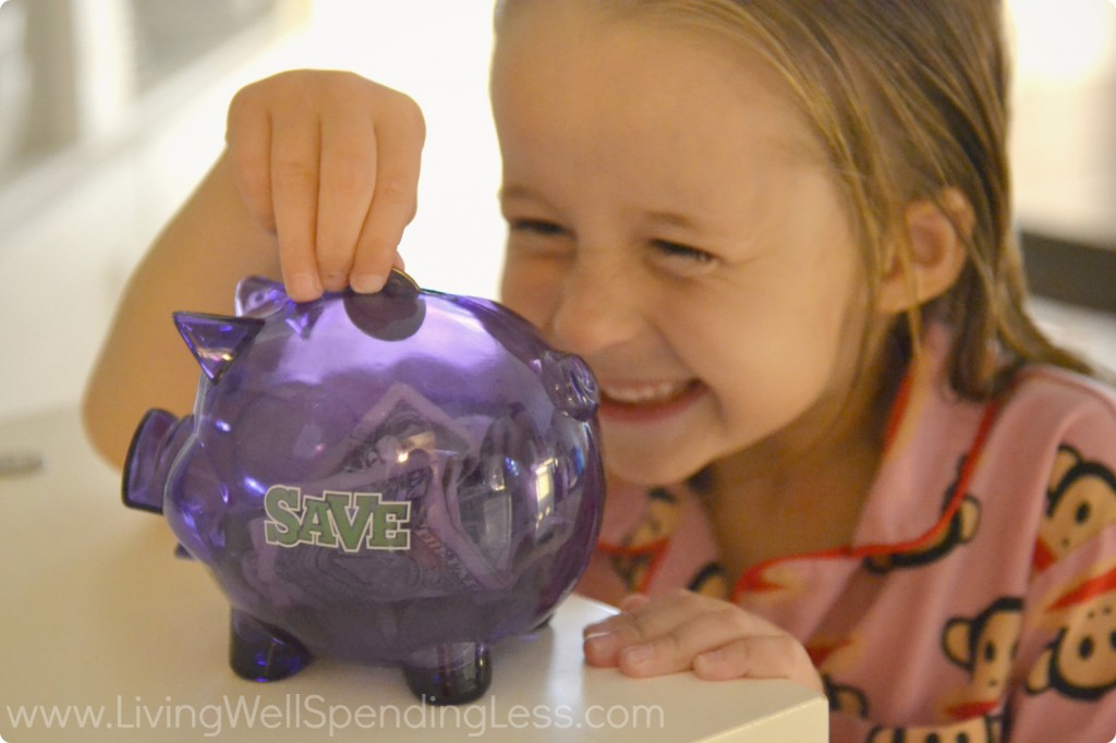 Adding money to your savings piggy bank can be fun!