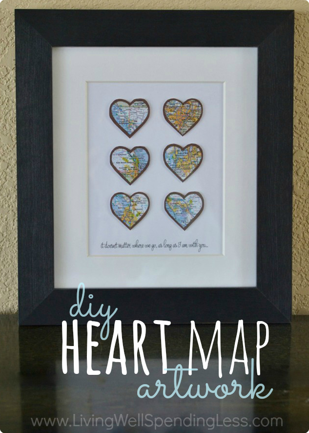 diy heart map art   living well spending less