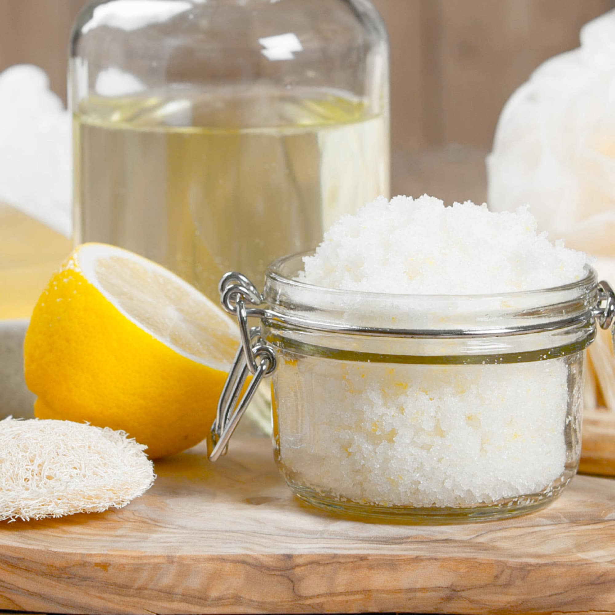 Did you know sugar contains natural alpha-hydrolic acids that exfoliate & soften your skin? Three ingredients is all you need to make this Lemon Sugar Scrub!