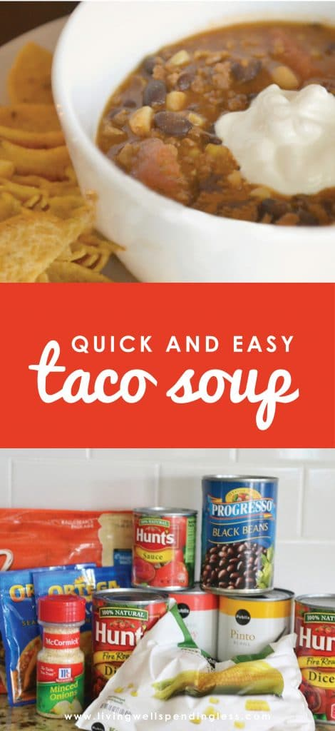 Looking for an easy make-ahead soup? This quick and easy taco soup will be your new favorite! This simple soup is full of protein and great flavor. It's a hearty vegetarian option that your whole family will love. Make it ahead and freeze or enjoy it tonight!