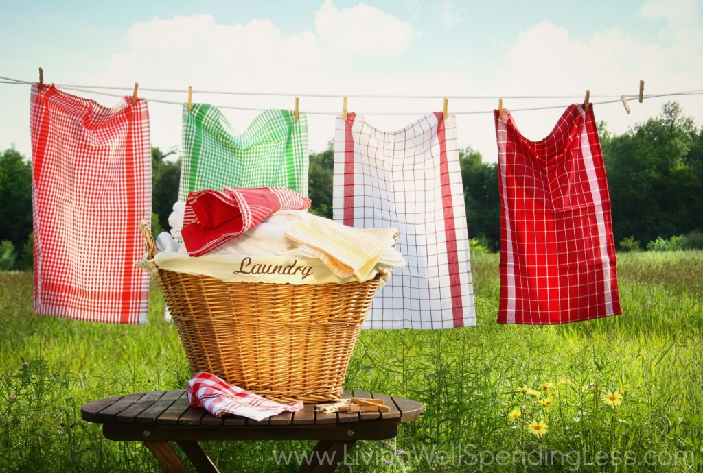 Clean laundry can hand on a line to dry.