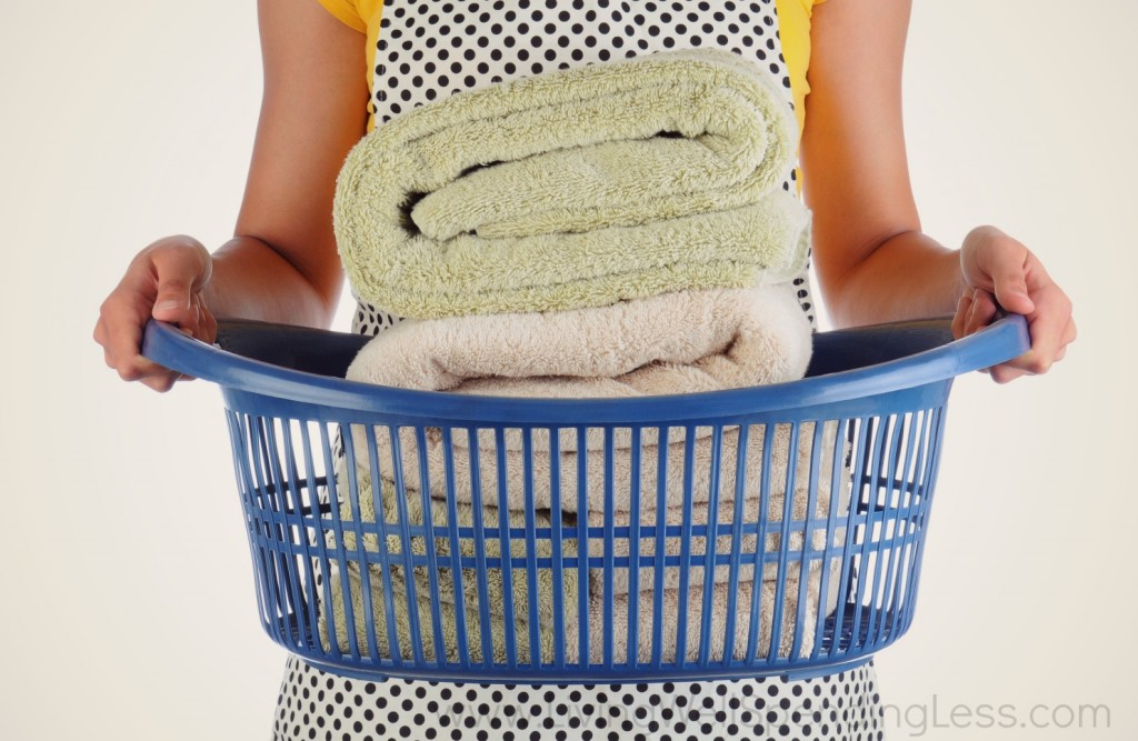 Clean towels are a must when getting organized.