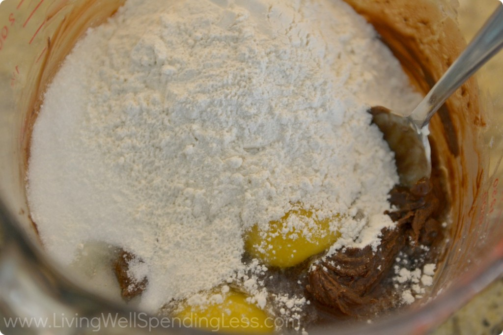 Add sugar, eggs, flour, and salt and mix until smooth.