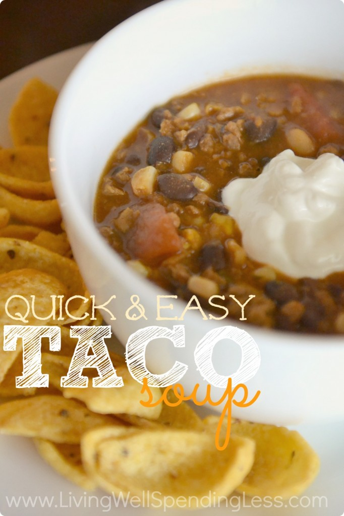 Quick and Easy Taco Soup | Easy Taco Soup | Easy Soup Recipe | Taco Soup | Taco Soup Recipe | Freezer Meals | Cheater Recipe | Slow Cooker Taco Soup Recipe