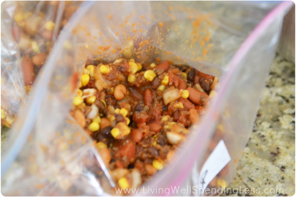 The mixture can be frozen in quart sized freezer bags and heated up any time for a quick weeknight meal.