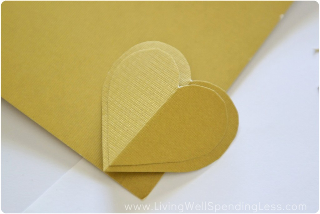 Cut a second heart template, slightly larger than the first.