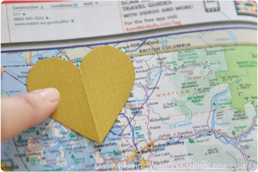 Trace the heart outline on a map around a spot that's important to you.