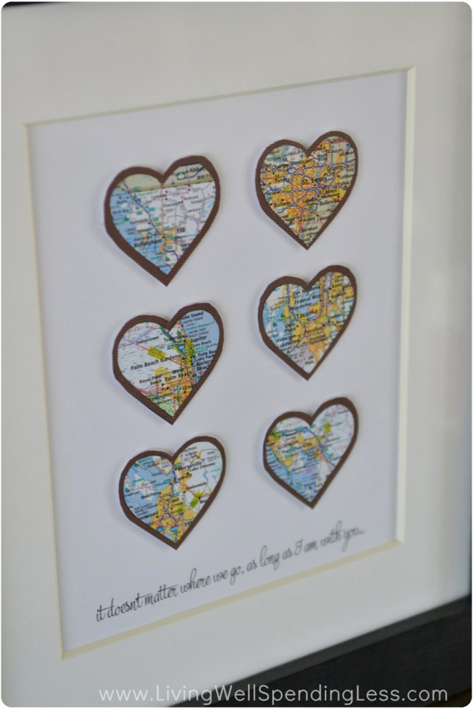 This cute heart map artwork is perfect for any wall.