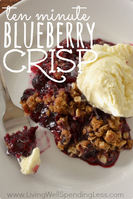 This easy ten minute blueberry crisp is delicious, especially topped with a scoop of vanilla ice cream.
