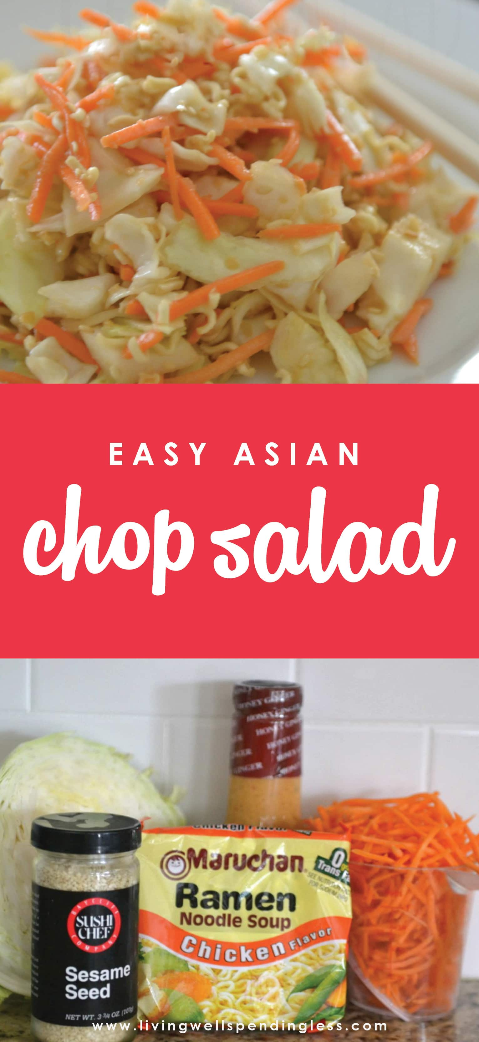Need a quick & simple meal idea for hot summer nights? This Easy Asian Chop Salad has a ton of flavor, crunch and comes together with only 5 ingredients!