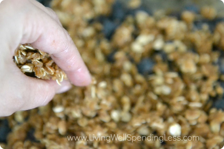 Crumble the sugared oats across the top of the blueberries using your fingers to spread the mixture evenly.