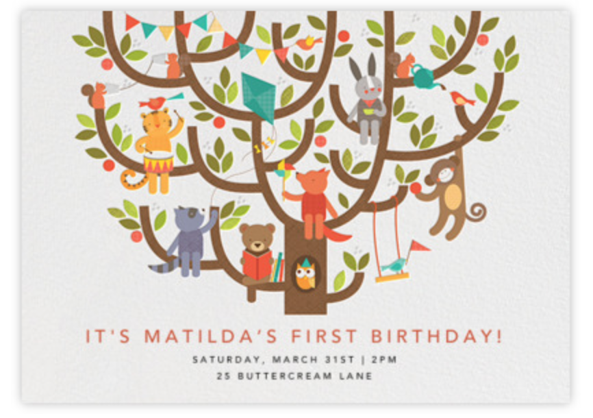 Email invitations make party planning easy. There are many adorable e-vites like this cute design of animals in a tree.