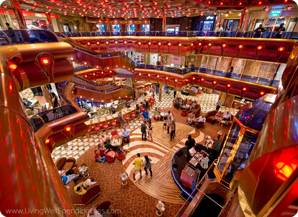 Cruise travel is so much fun--look at this gorgeous main hall on a cruise ship.