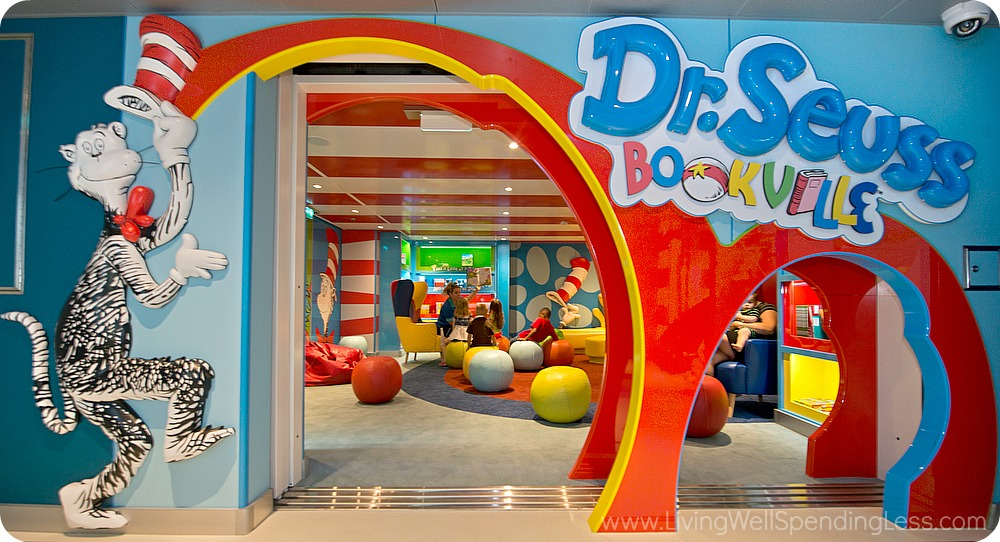 Many cruise ships offer kid friendly spots like this Dr. Seuss Bookville, which is great for downtime.