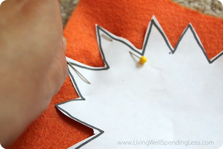 Pin your cut out patterns onto the pieces of felt.
