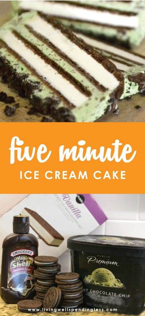 Need a go-to dessert for all those last minute gatherings? This show-stopping ice cream cake comes together in just five minutes with four simple ingredients! Customize with your favorite flavors for an amazing dessert everyone will RAVE about!