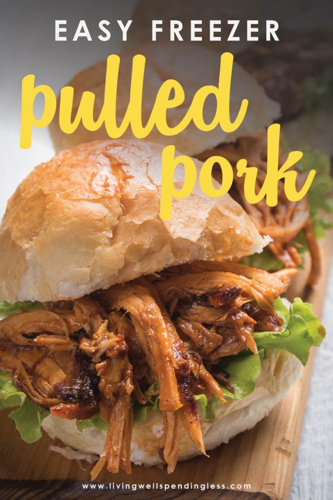 This easy freezer pulled pork recipe feeds 8-10 people using a $5 cut of meat! Freeze it ahead of time for a quick simple weeknight dinner!