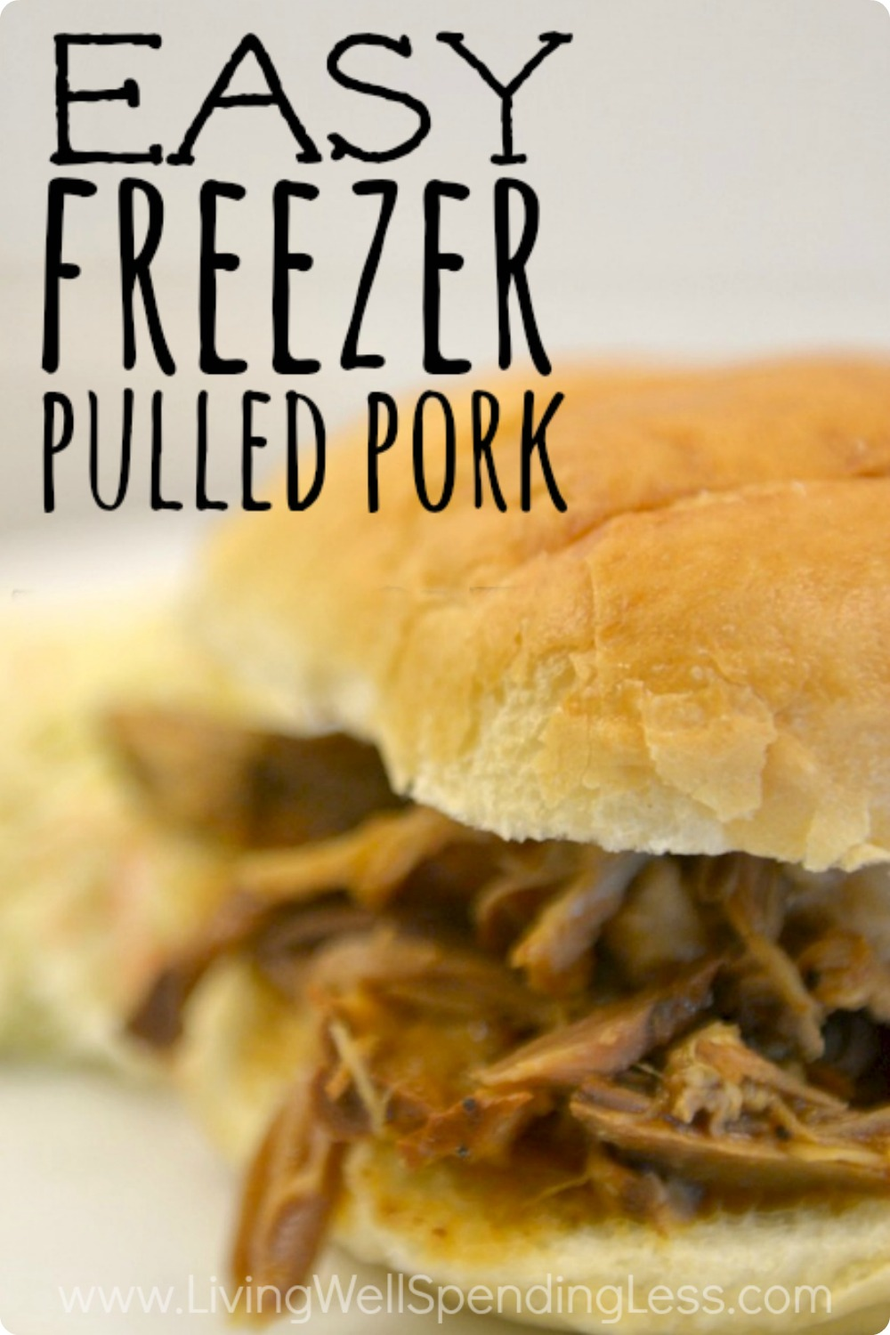 Easy Freezer Pulled Pork | Easy Slow-Cooker Freezer Meals | Freezer Cooking |  Dinner Recipes | Freeze + Dump Slow Cooker Meals | Slow Cooker Pulled Pork