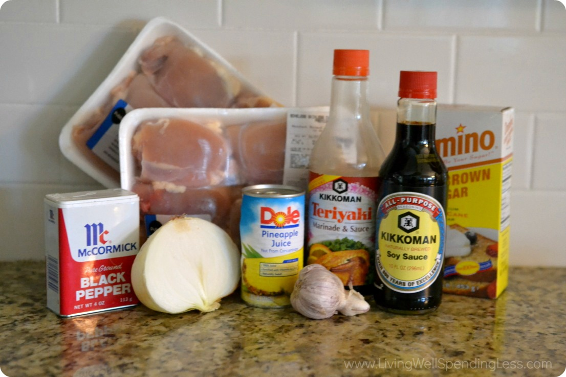 Assemble the ingredients for Hawaiian chicken: thighs, teriyaki, soy sauce, pineapple juice, onion, brown sugar and spices.