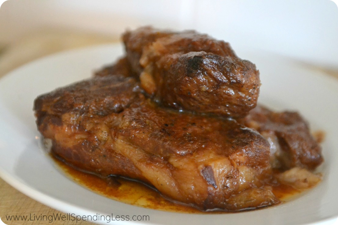 Serve slow cooked ribs when tender and juicy.