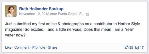 An old Facebook status update from Ruth about her first article as a contributor to Harbor Style