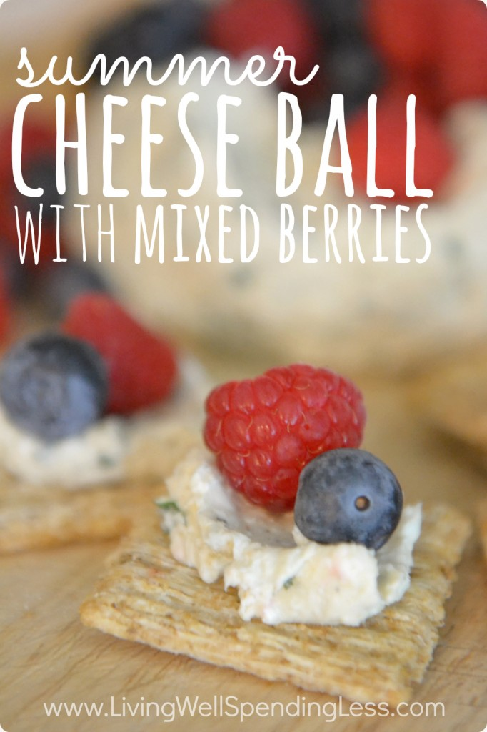 Summer Cheese Ball with Mixed Berries Vertical
