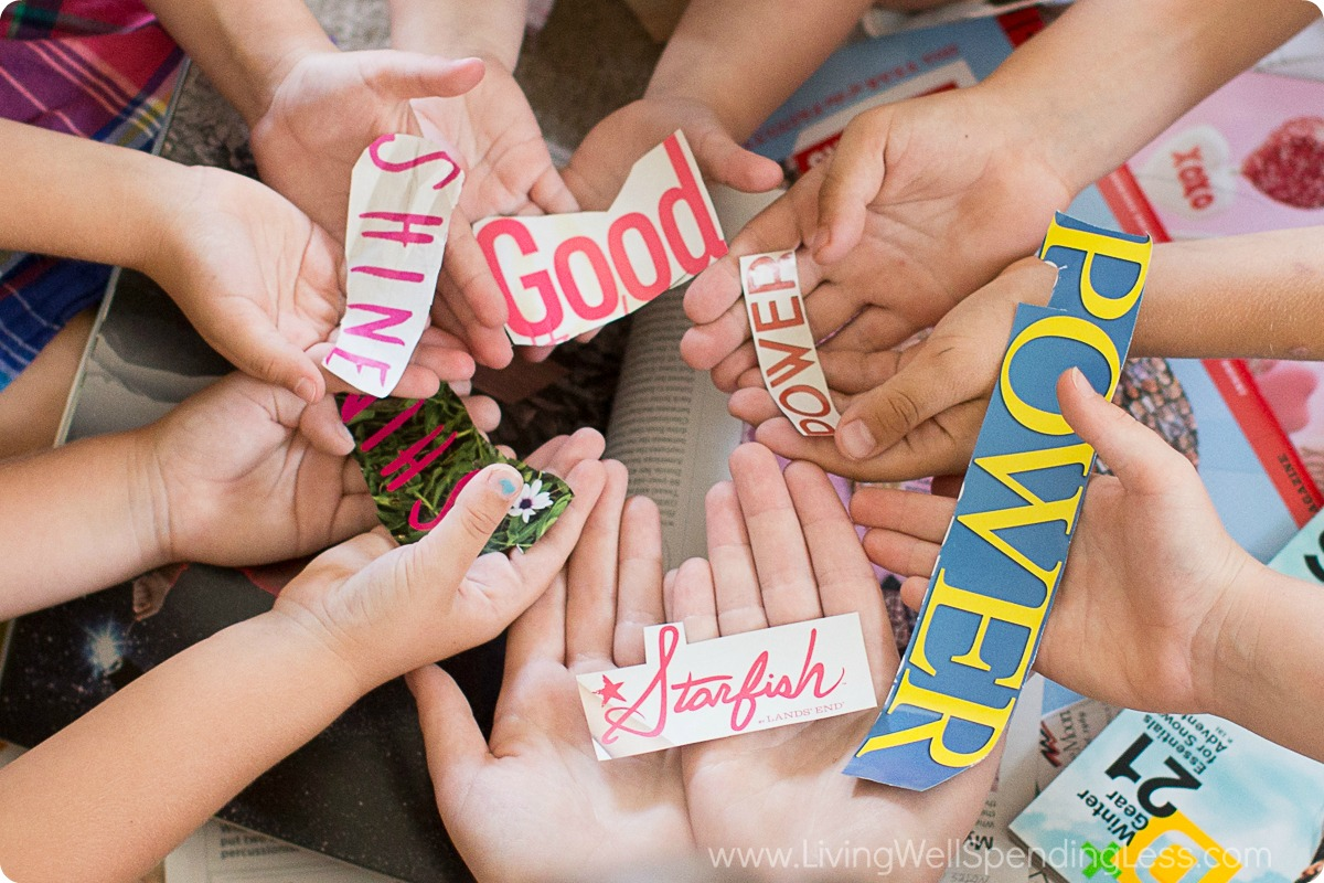 Cut out words or photos from magazines to use for your art project.