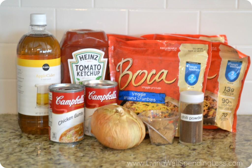 Grandma's Sloppy Joes | Vegetarian Sloppy Joes recipe ingredients.