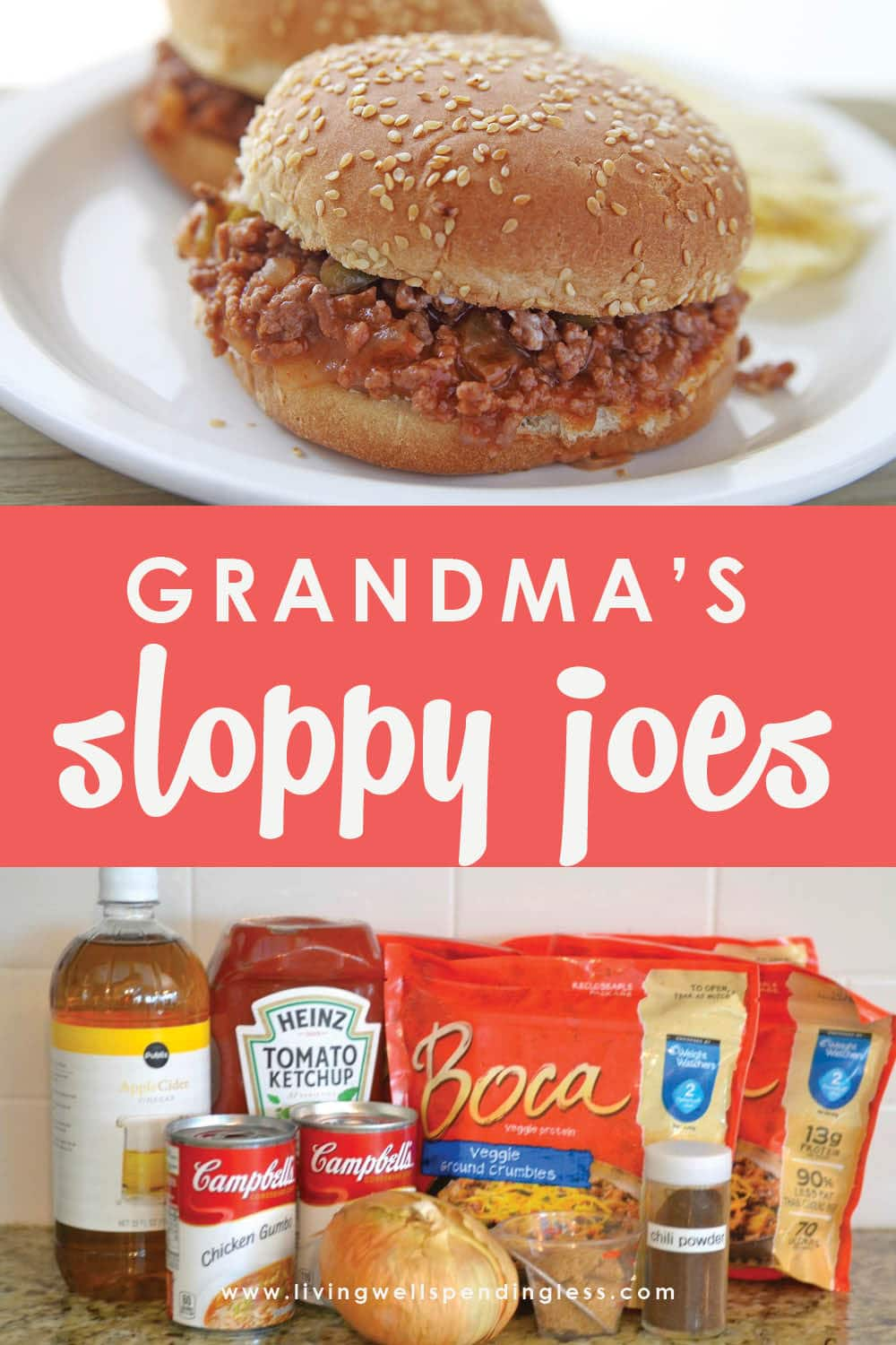 Need a new family favorite meal? This delicious recipe is straight out of my Grandmother's recipe box. Full of flavor, it whips up in minutes to serve a crowd and is freezer friendly too! It can also be made vegetarian, check it out! #vegetarian #easyrecipe #freezermeals #sloppyjoes