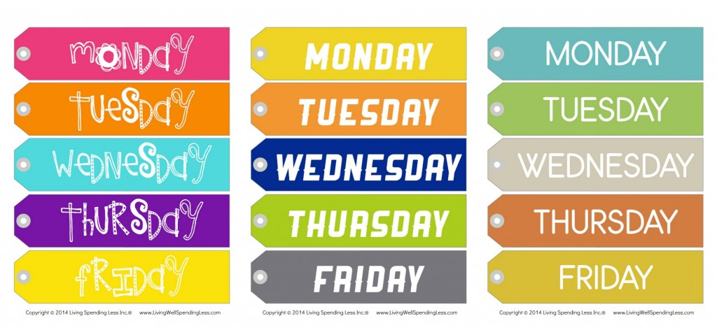 Printable Weekday Hanger Tags | Free Printables | Hanger Tags | Hangers | Card Stock | Tags LAbels