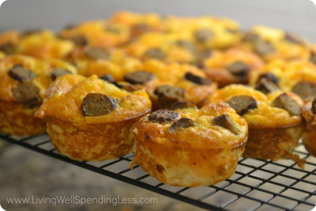These easy cheese, sausage, and egg breakfast muffins can be made and frozen for an easy, on-the-go breakfast all week.