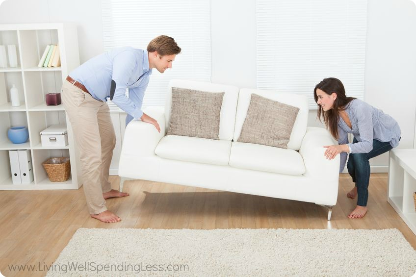 Get your husband to help you rearrange your living room furniture. Sometimes changing the placement of the couch and other items can change the whole room.
