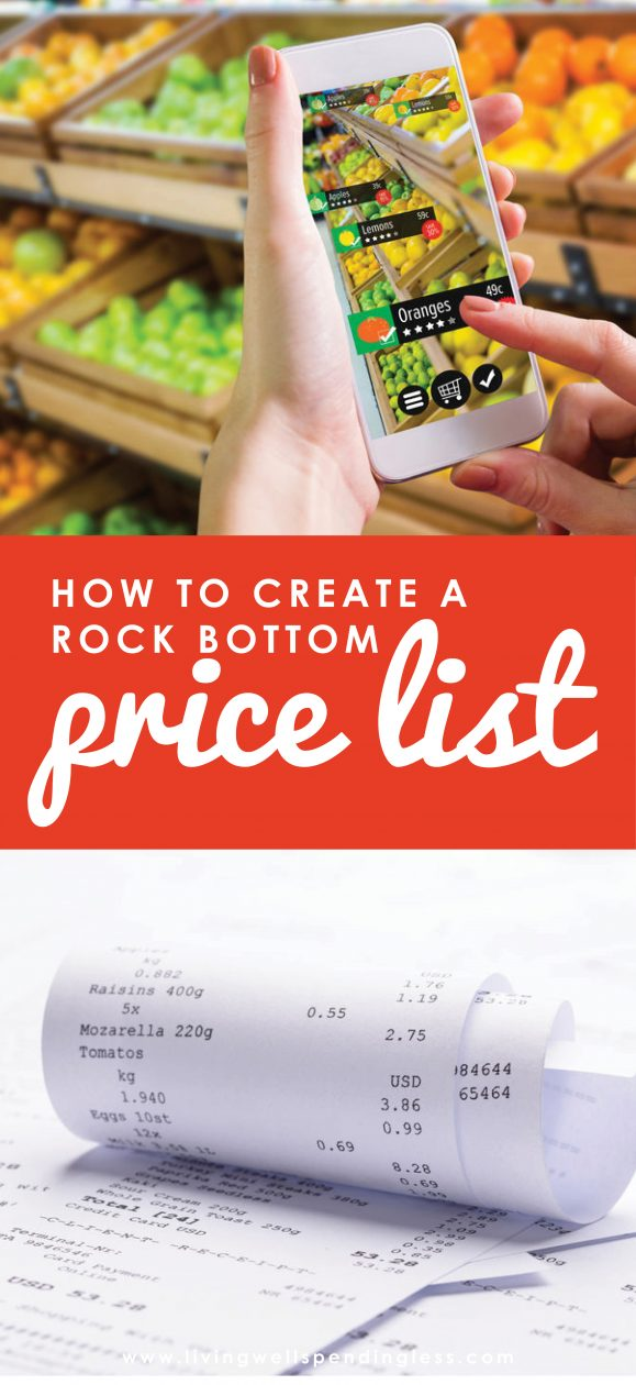Want to save more money on groceries?  Surprisingly, the biggest key to success is not using coupons, but knowing exactly when to stock up so that you only ever buy things at their lowest possible price.  Don't miss this helpful post for 5 simple steps to creating a rock bottom price list of your very own.    Create a Rock Bottom Price List   DIY Rock Bottom Price List   Free Printable Lowest Price List