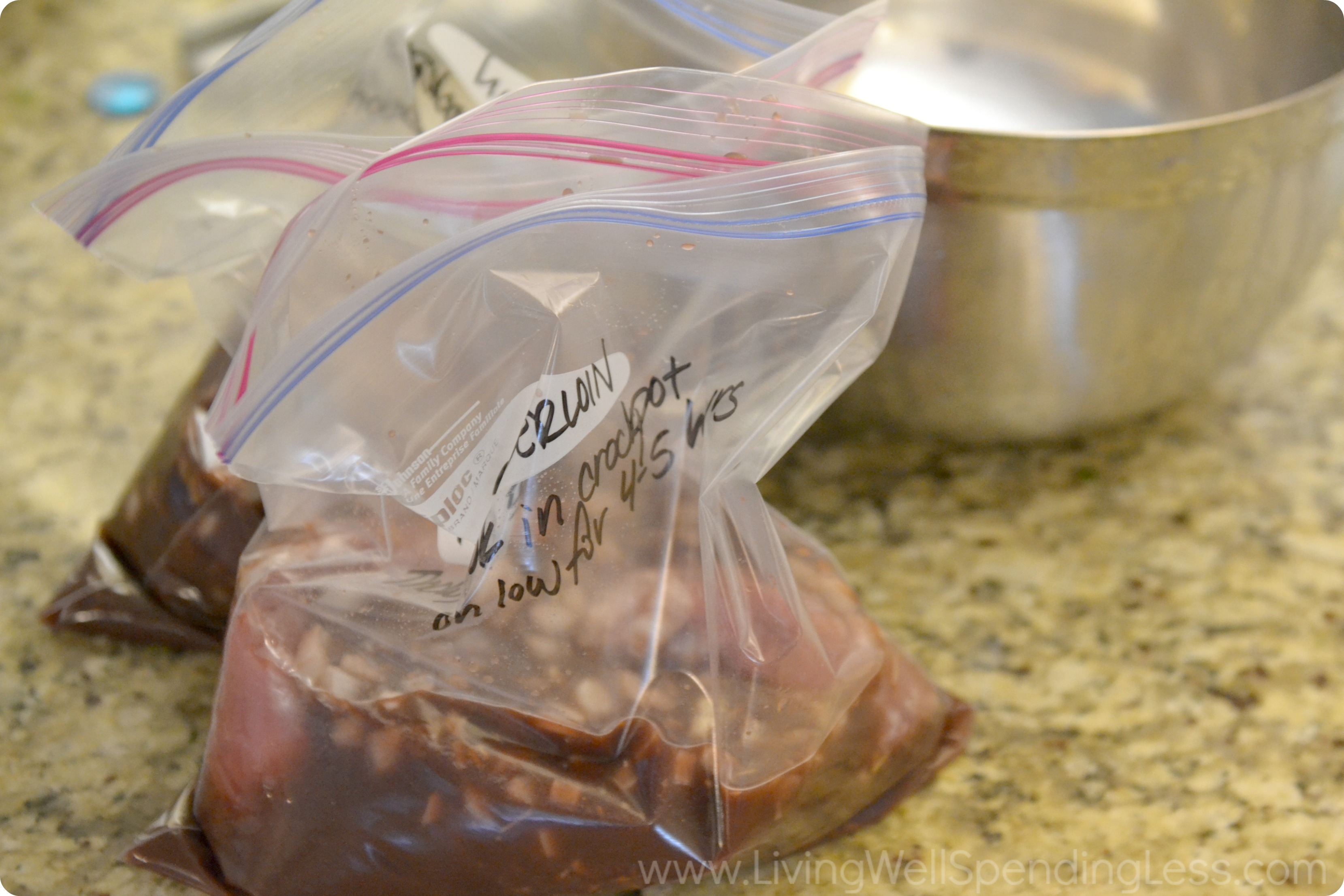 Add the liquid to freezer bags, along with the tenderloin and label with instructions.