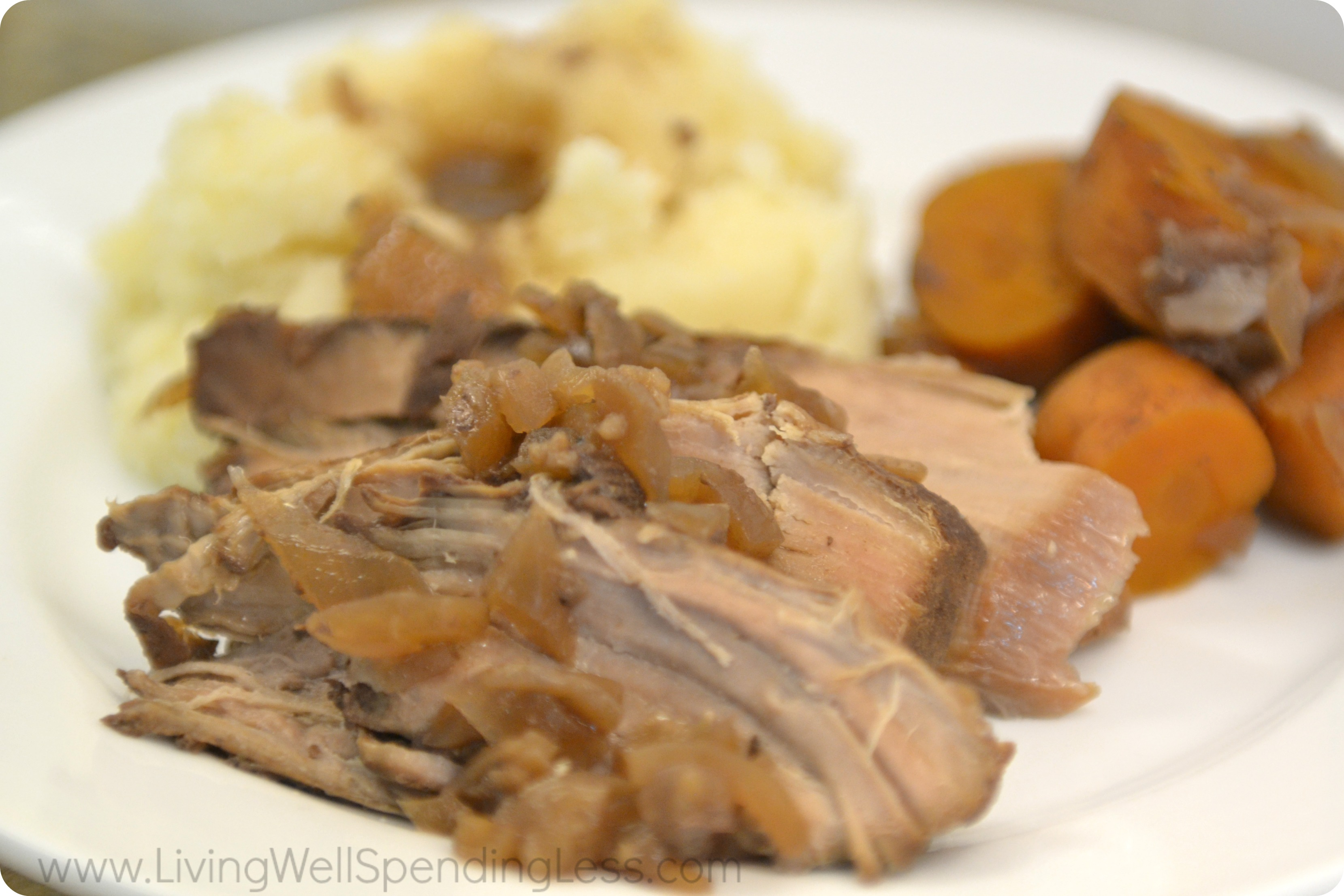 Slow cooked pork tenderloin makes the perfect comforting dinner. Serve with potatoes and the carrots.