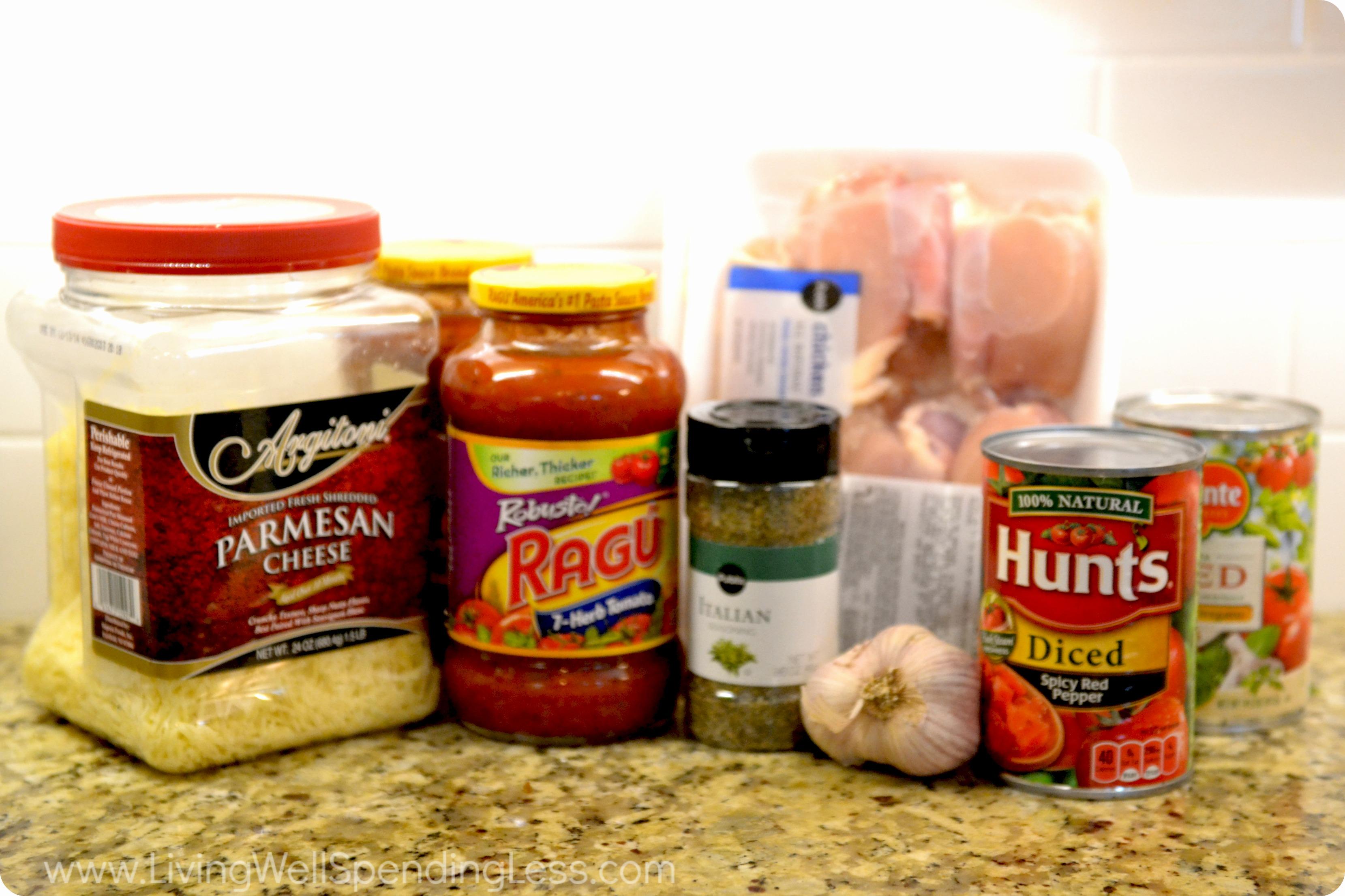 Tomato Parmesan Chicken ingredients.