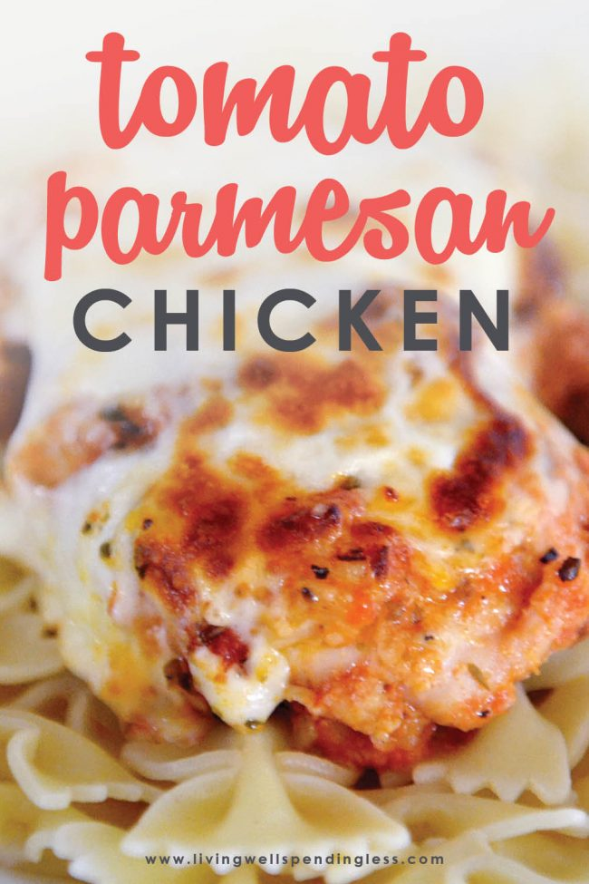 Love Chicken Parmesan? This easy Tomato Parmesan Chicken gives you all of the flavor with none of the effort. Whips up in minutes and freezer friendly too!