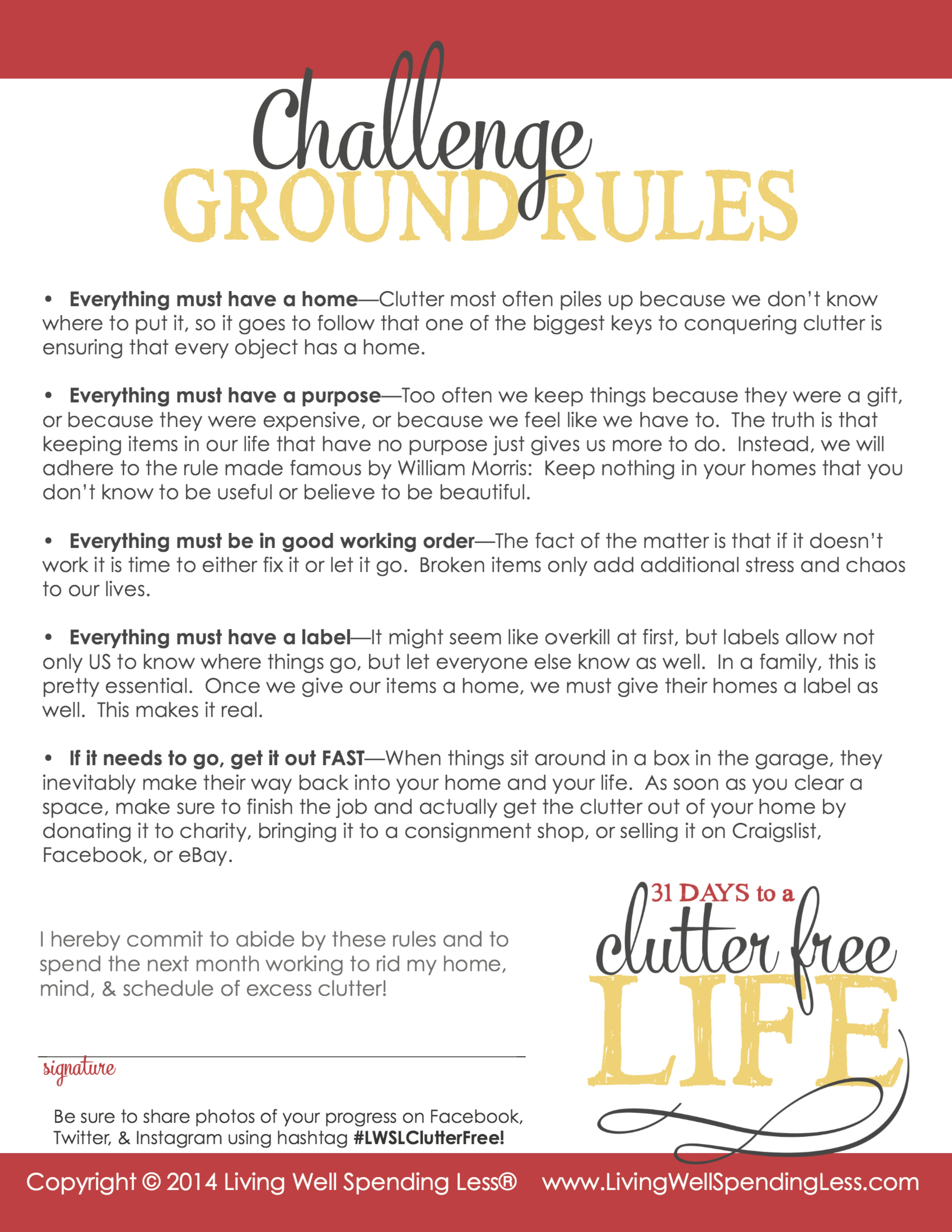 Days to a Clutter Free Life Challenge | Printable Ground Rules