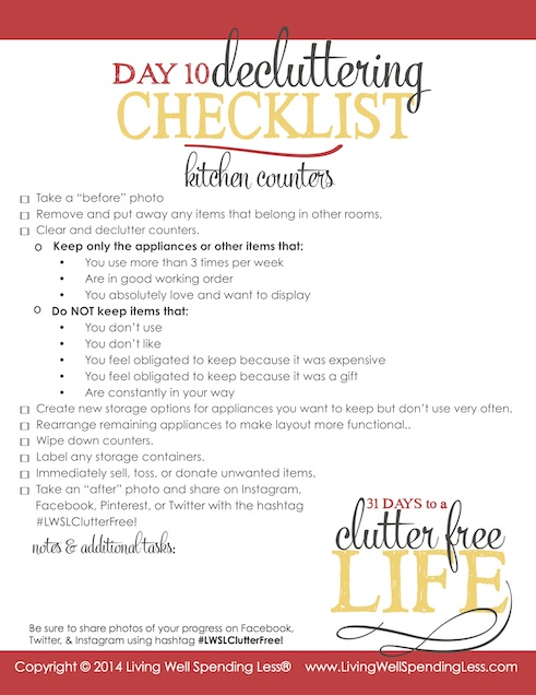 Days to a Clutter Free Life Challenge | Printable Ground Rules | Clutter Free | Home Management | Kitchen Counters