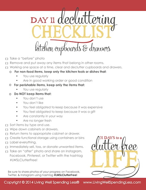Days to a Clutter Free Life Challenge | Printable Ground Rules | Clutter Free | Home Management | Kitchen Cupboards