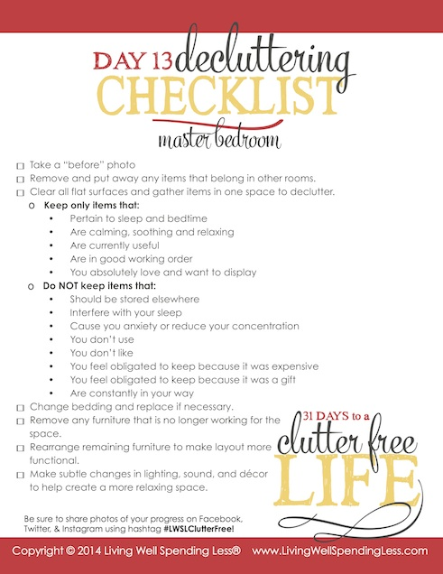 Days to a Clutter Free Life Challenge | Printable Ground Rules | Clutter Free | Home Management | Master Bedroom