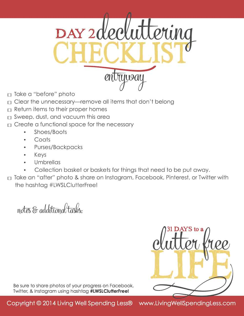 Days to a Clutter Free Life Challenge | Printable Ground Rules | Clutter Free | Home Management | Entry Way