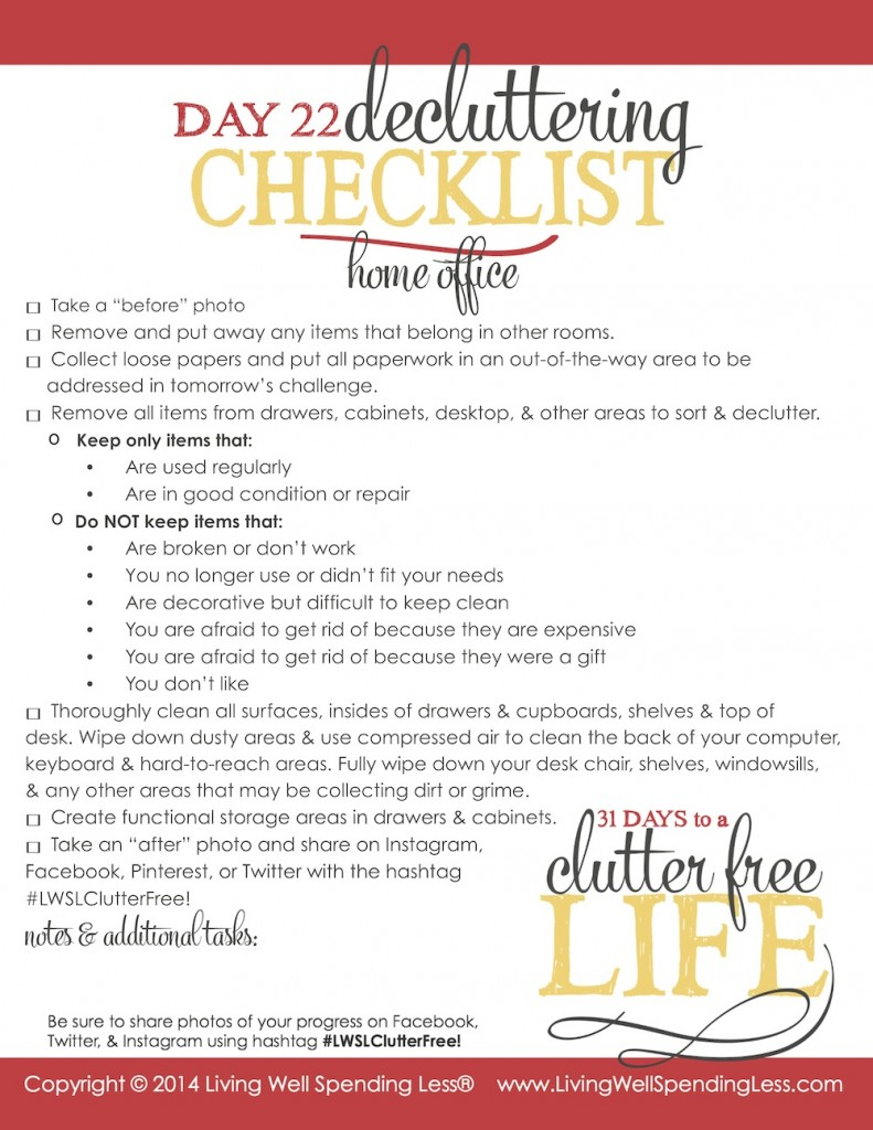 Days to a Clutter Free Life Challenge | Printable Ground Rules | Clutter Free | Home Management | Bills & Paperwork