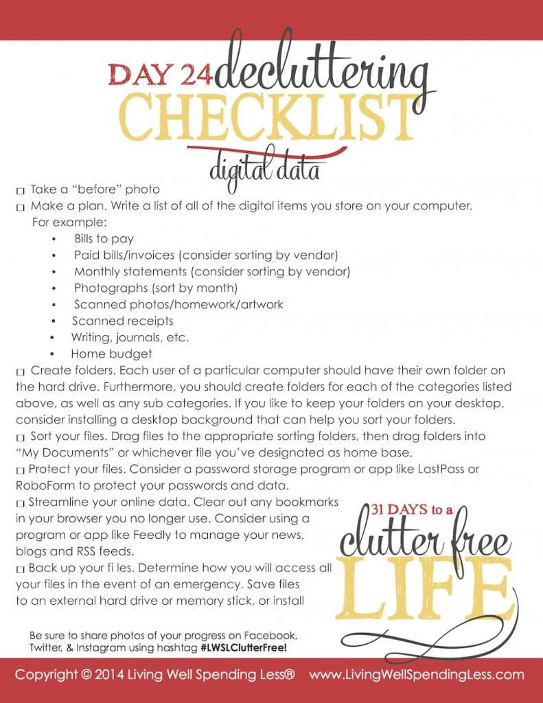 Days to a Clutter Free Life Challenge | Printable Ground Rules | Clutter Free | Home Management | Home Office
