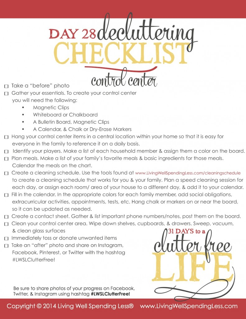 Use this printable decluttering checklist to get your life in order today.
