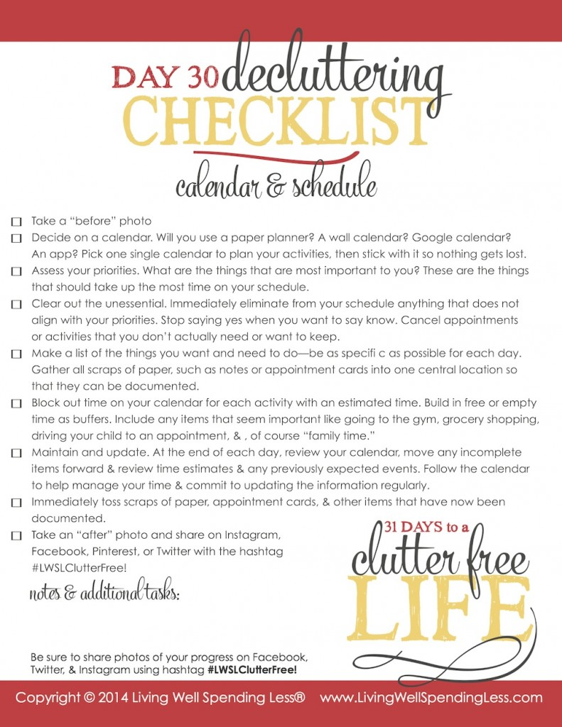 This checklist will help your declutter your life.