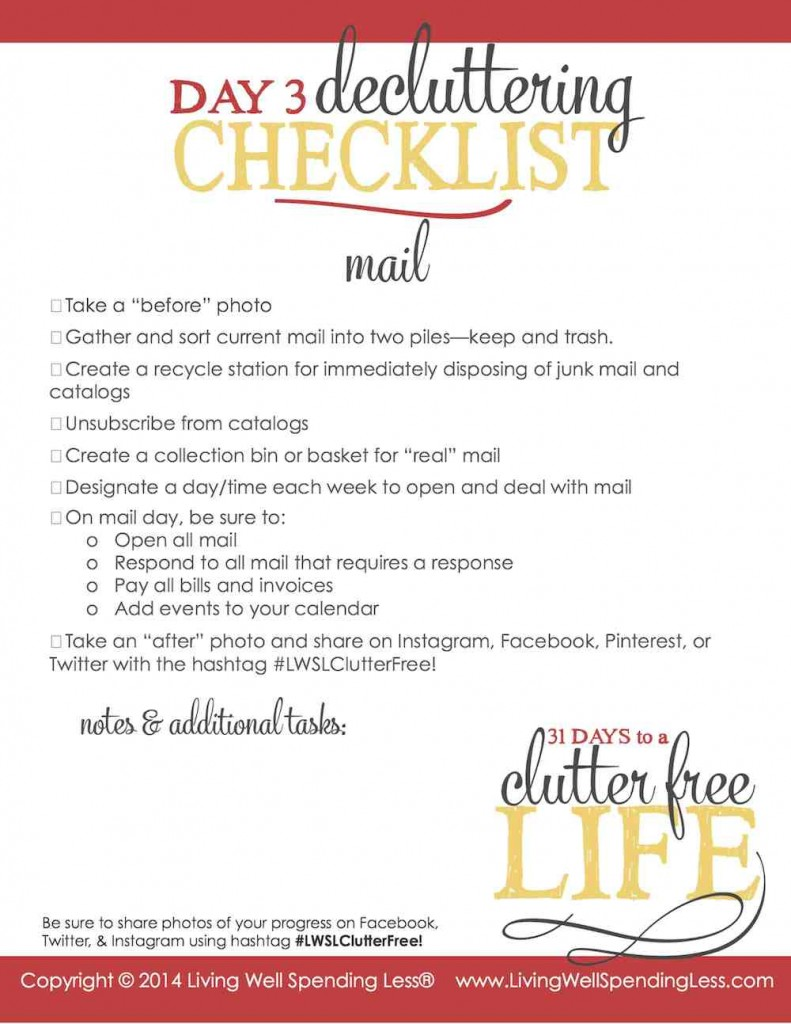 Use this decluttering checklist to get organized.