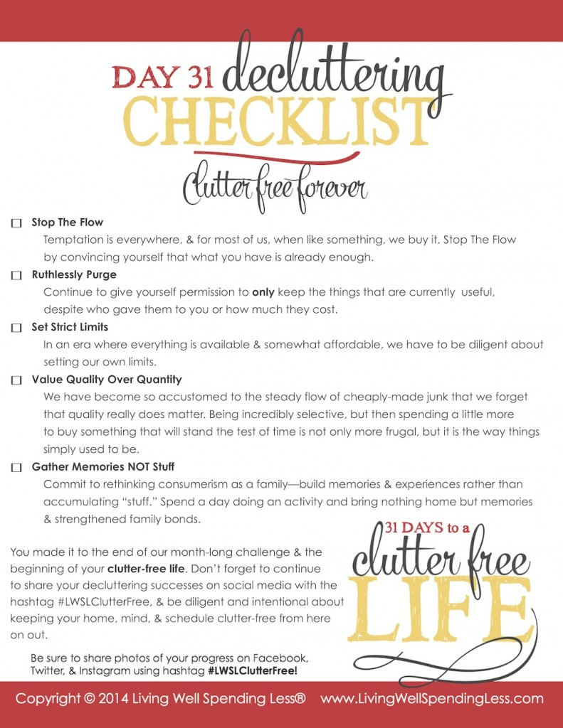 DAY 31 CHECKLIST Printable