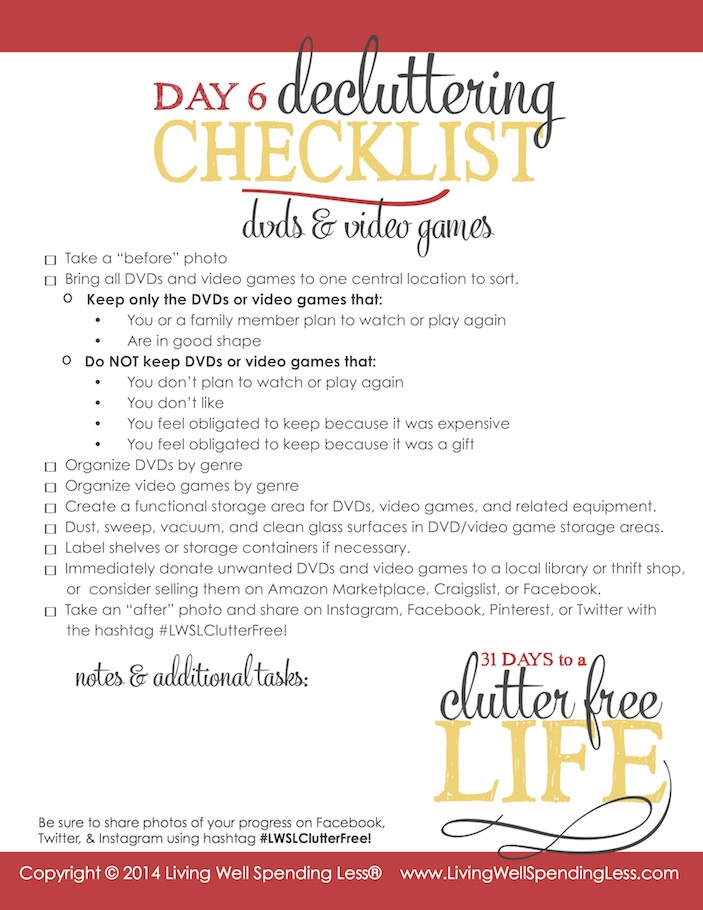 Days to a Clutter Free Life Challenge | Printable Ground Rules | Clutter Free | Home Management | DVDs & Video Games